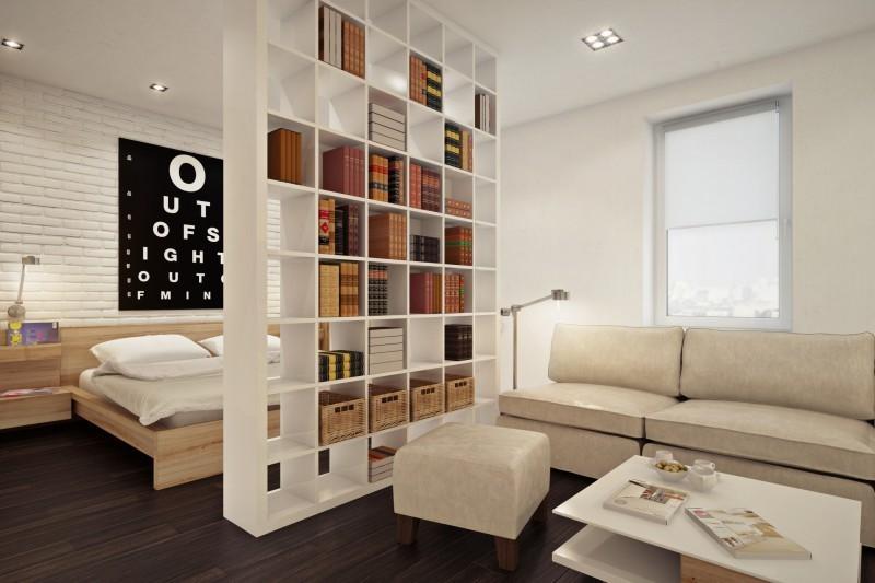 Зонирование комнаты перегородками