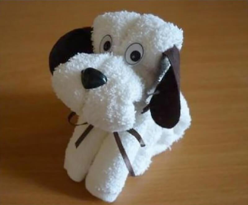 Как сложить из полотенец собаку