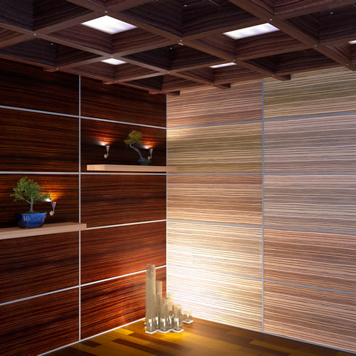Отделка стен с помощью стеновых шпонированных панелей